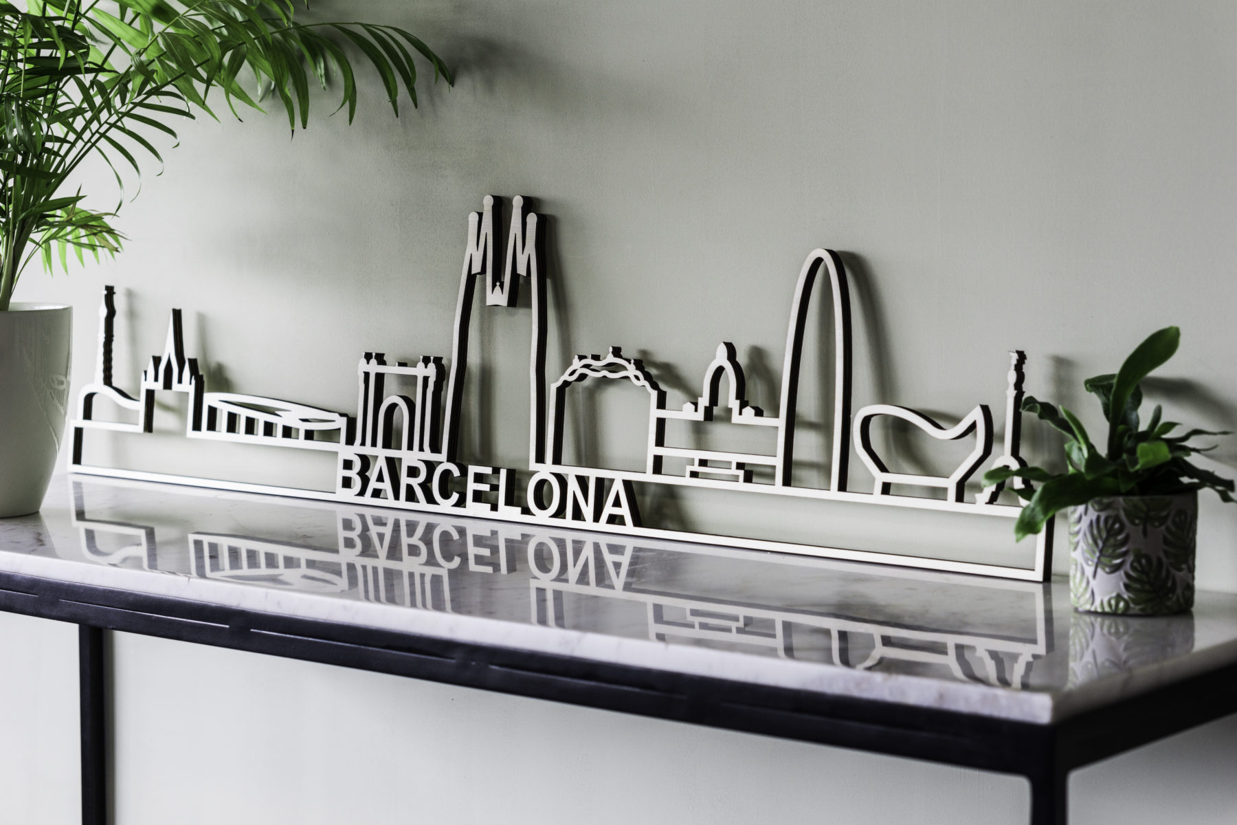 Barcelona skyline hout