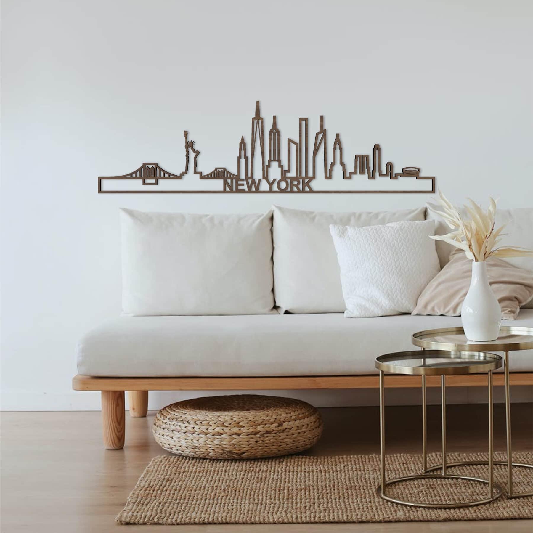 Skyline New York notenhout