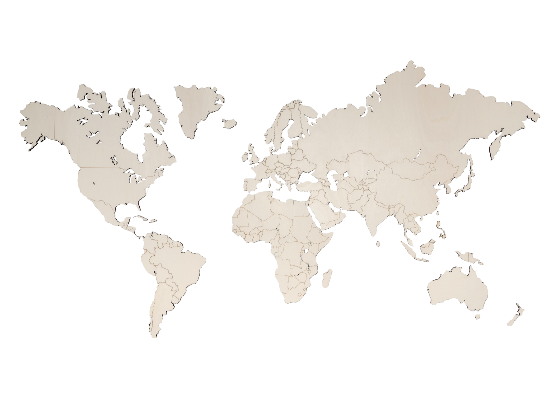 Houten wereldkaart populieren 217cm