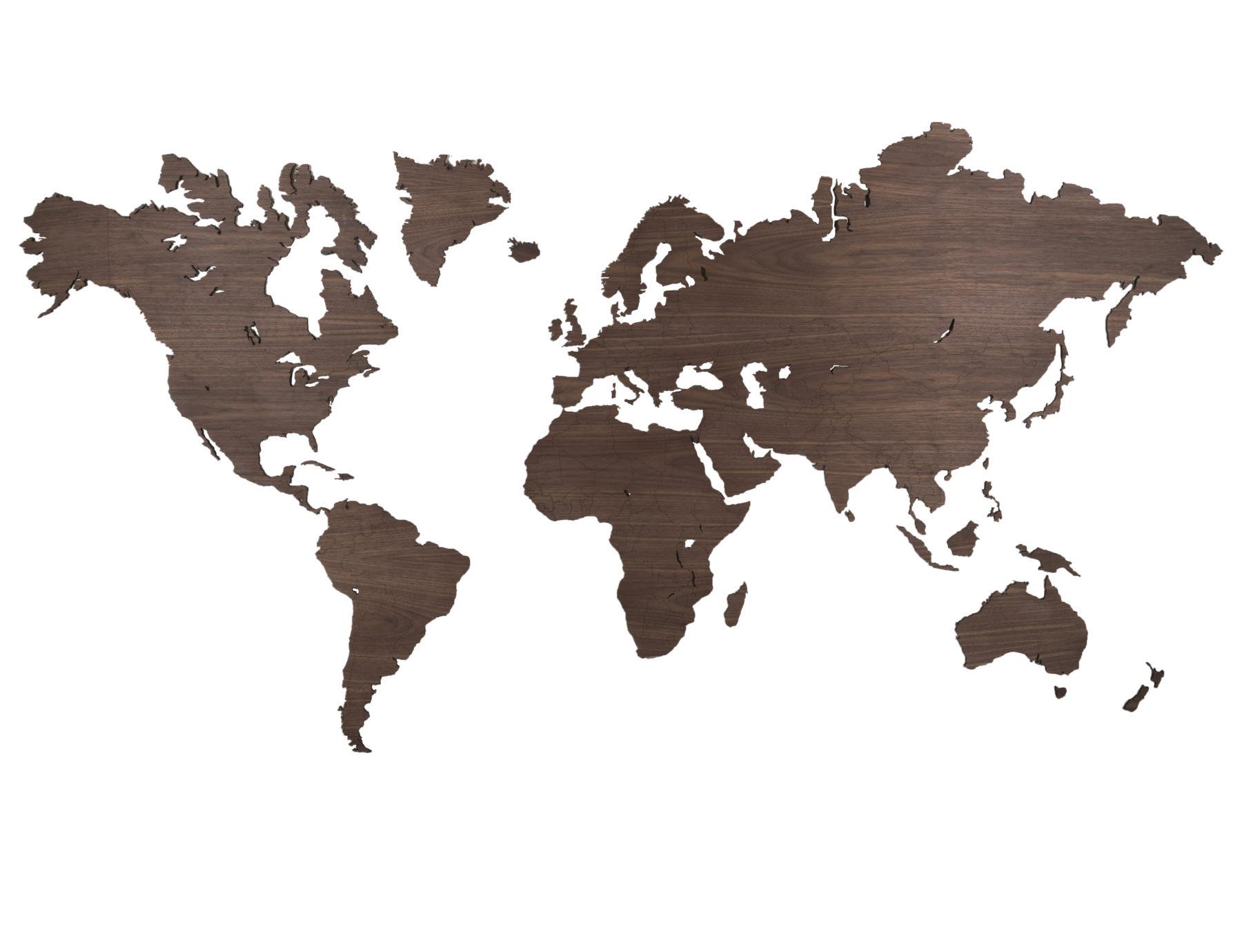 Noten houten wereldkaart voorbeeld