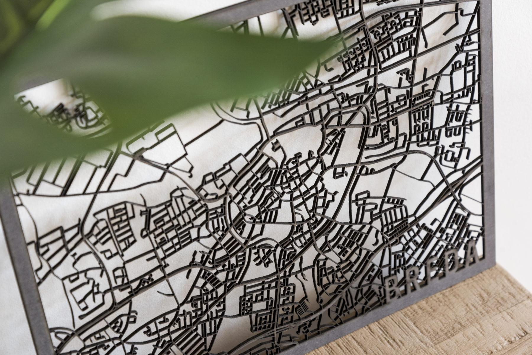Stadskaart Breda zwart hout