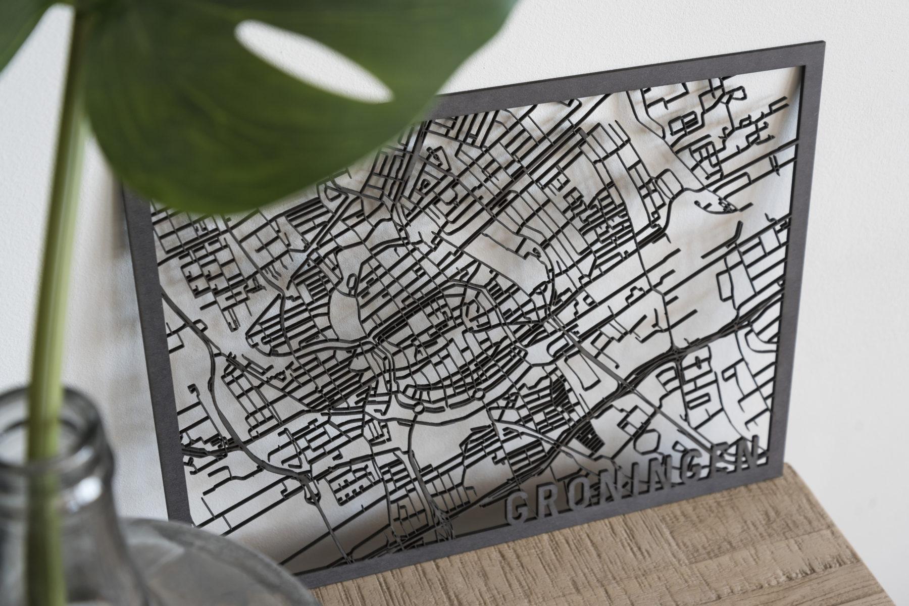 Stadskaart Groningen zwart hout