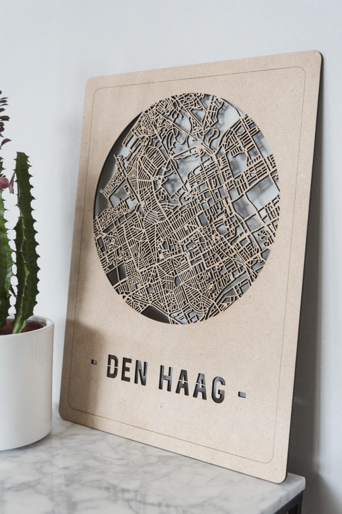 Stadskaart Den Haag hout