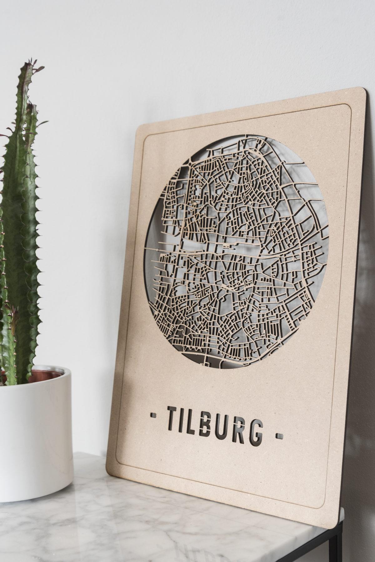 Stadskaart Tilburg hout mdf