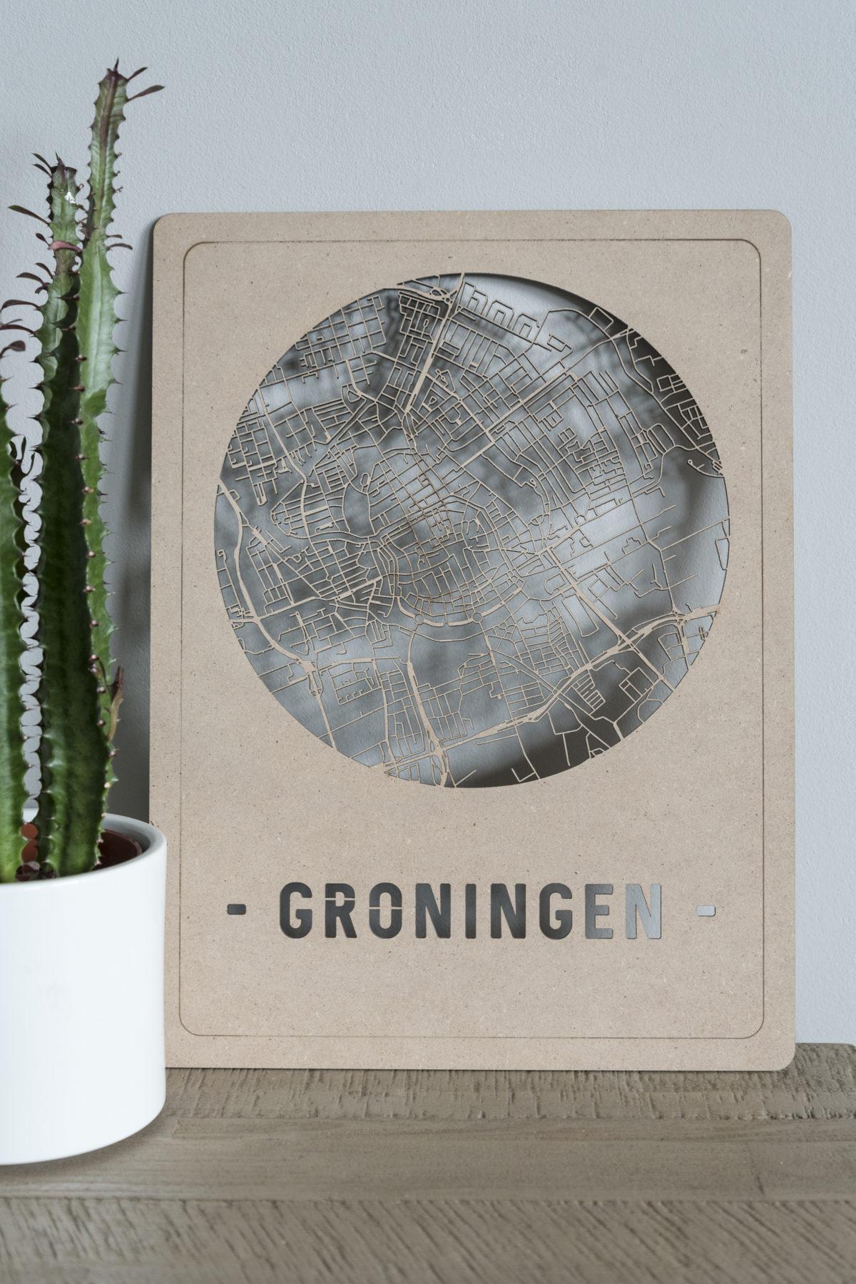Stadskaart Groningen hout