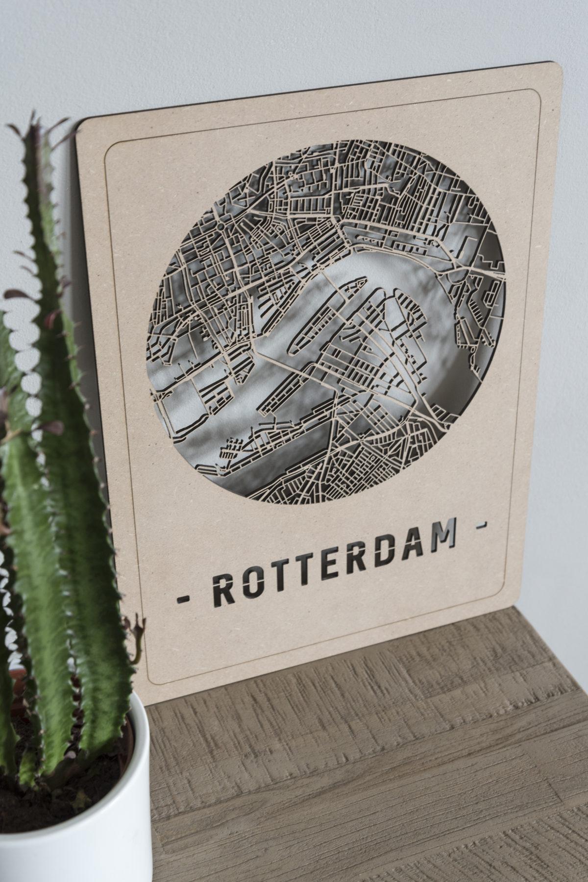 Houten stadskaart Rotterdam