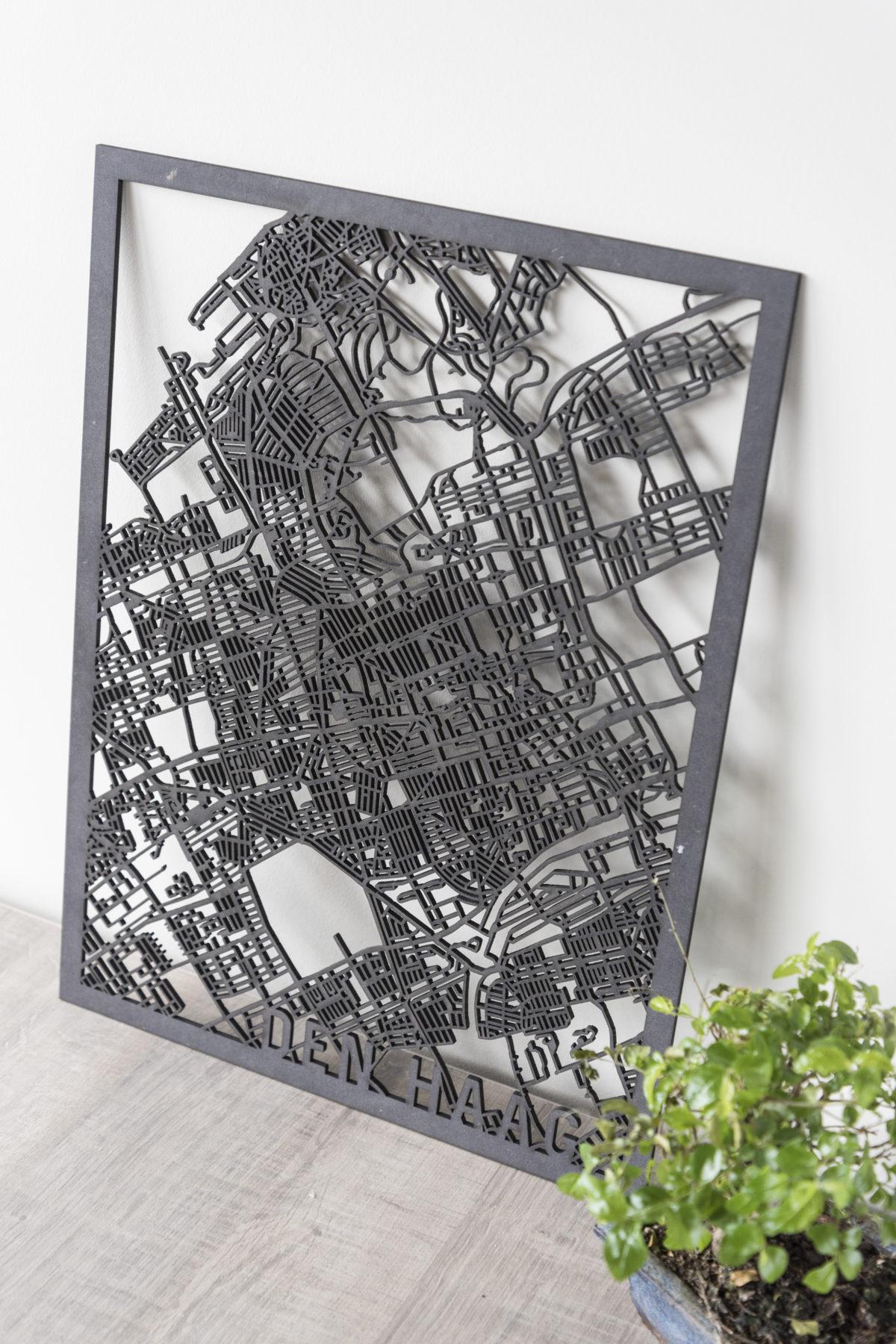 Stadskaart Den Haag zwart hout