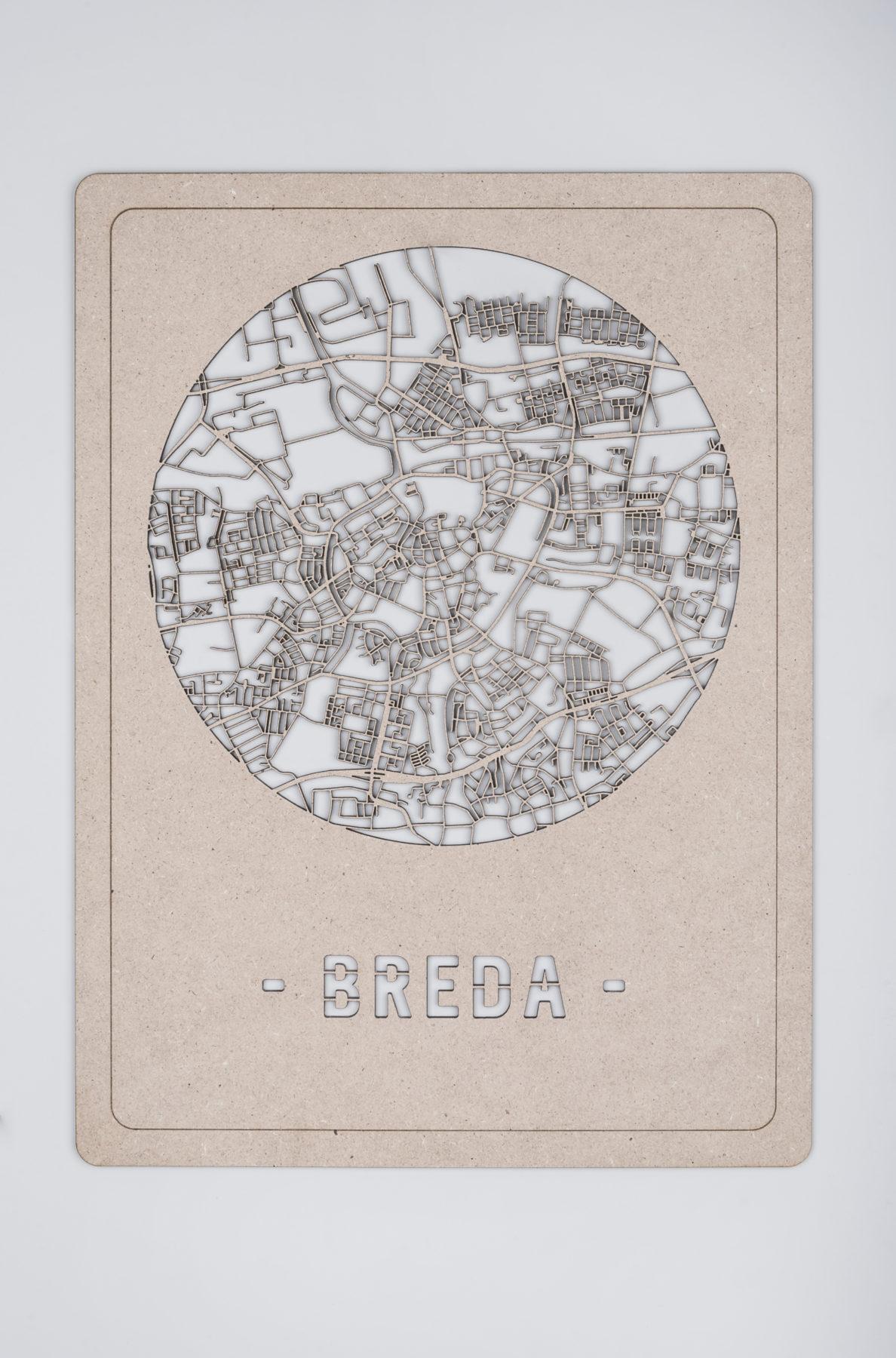 Houten stadskaart Breda