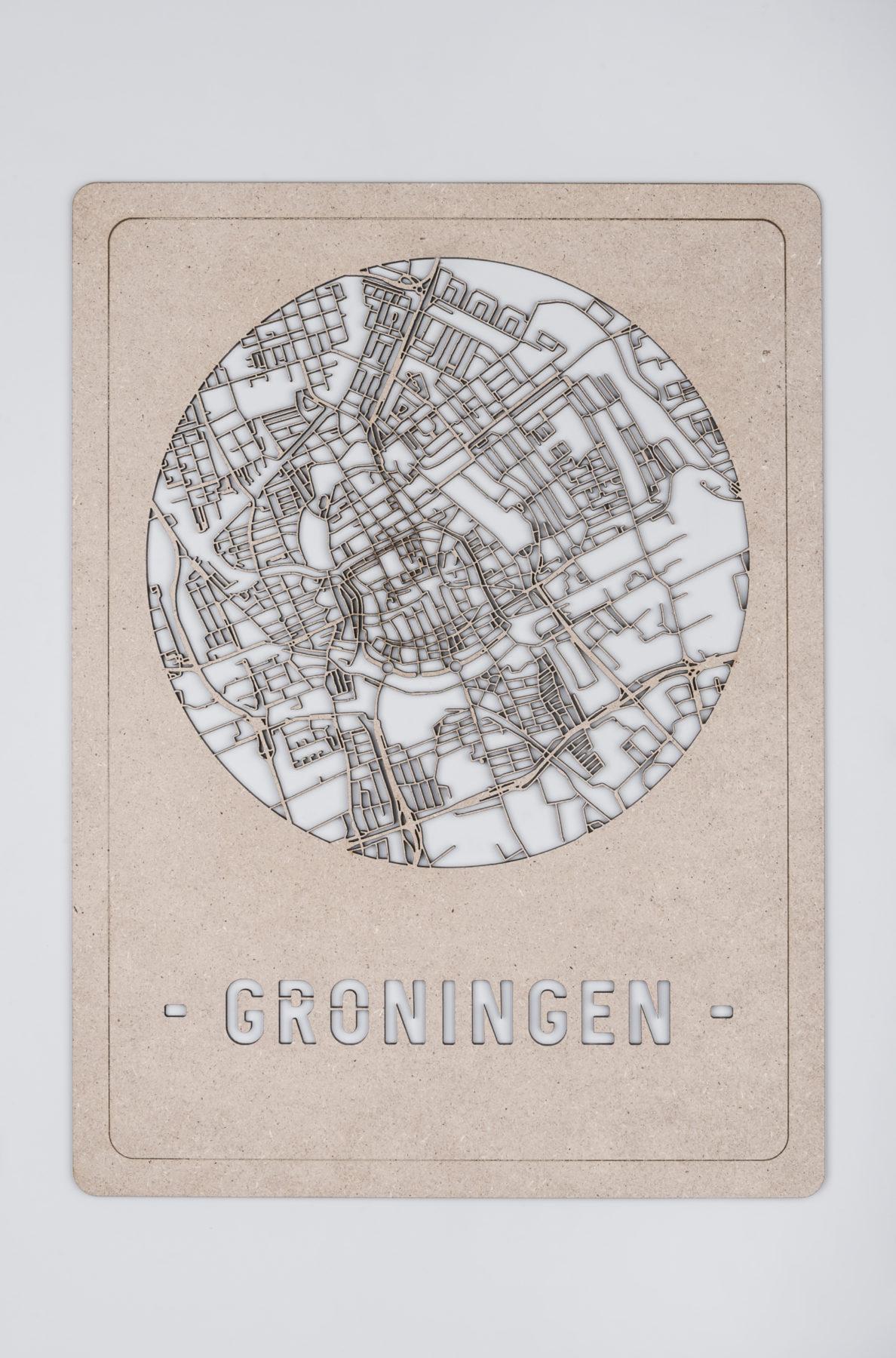 Houten stadskaart Groningen