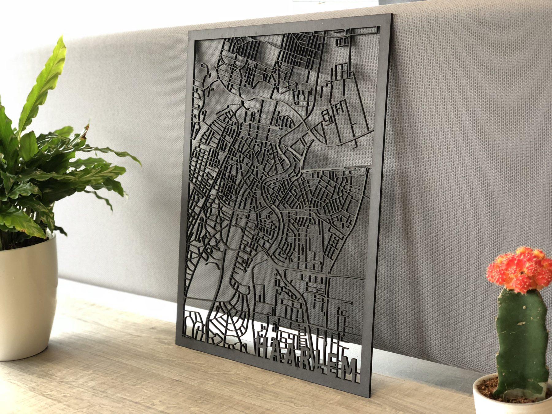 Stadskaart Haarlem zwart hout