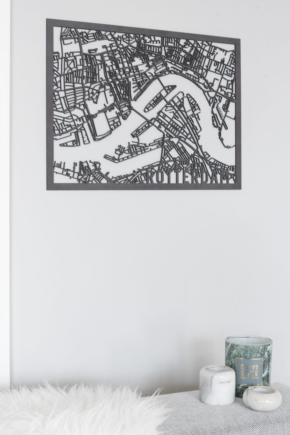 Stadskaart Rotterdam zwart hout