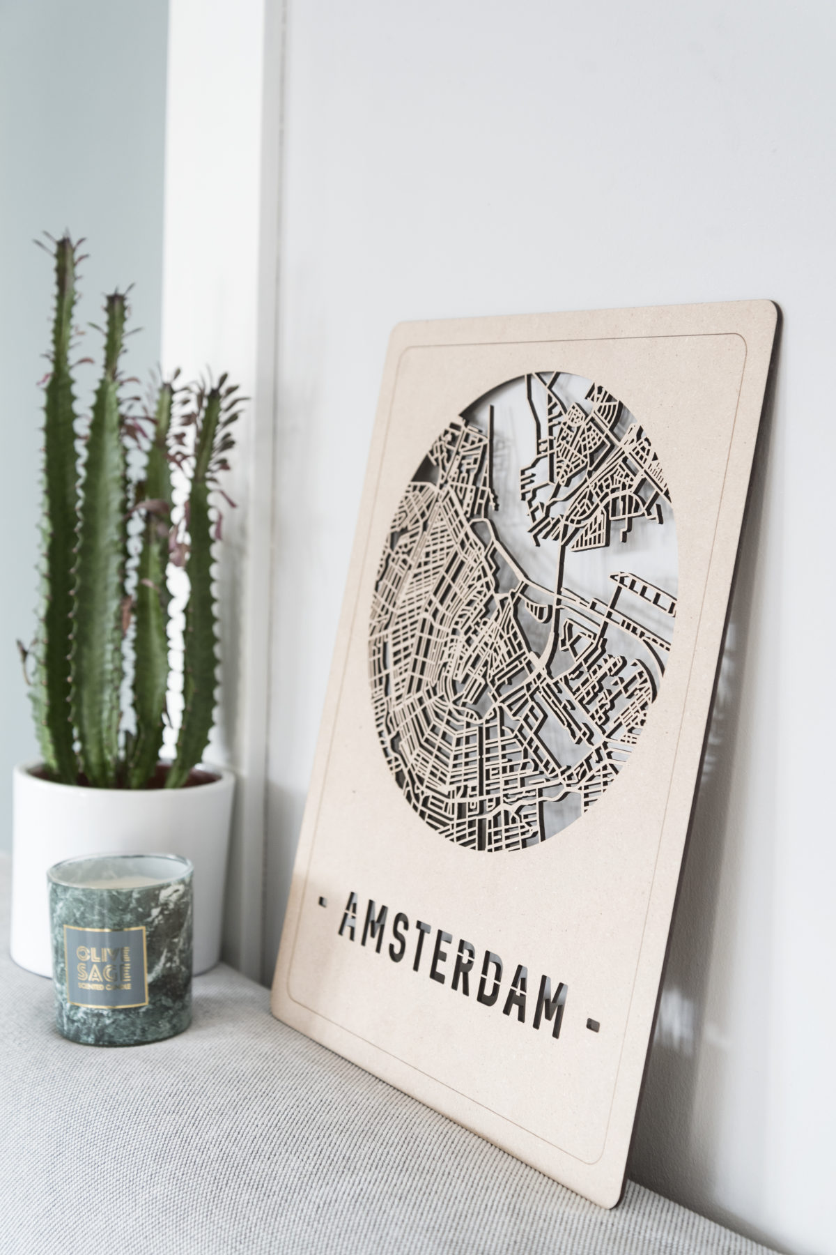 Amsterdam stadskaart hout