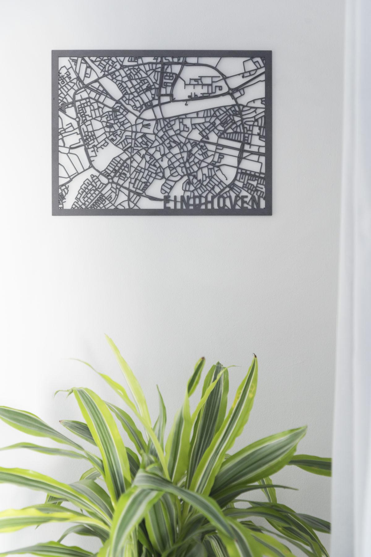 Houten stadskaart Eindhoven zwart