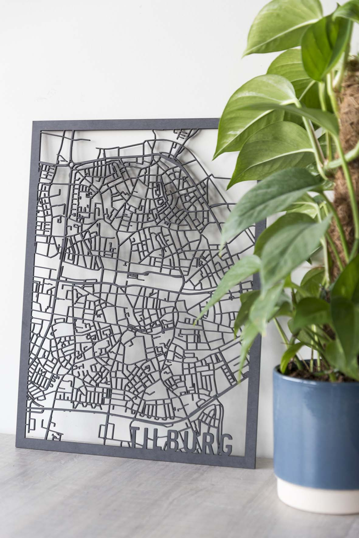Stadskaart Tilburg hout zwart