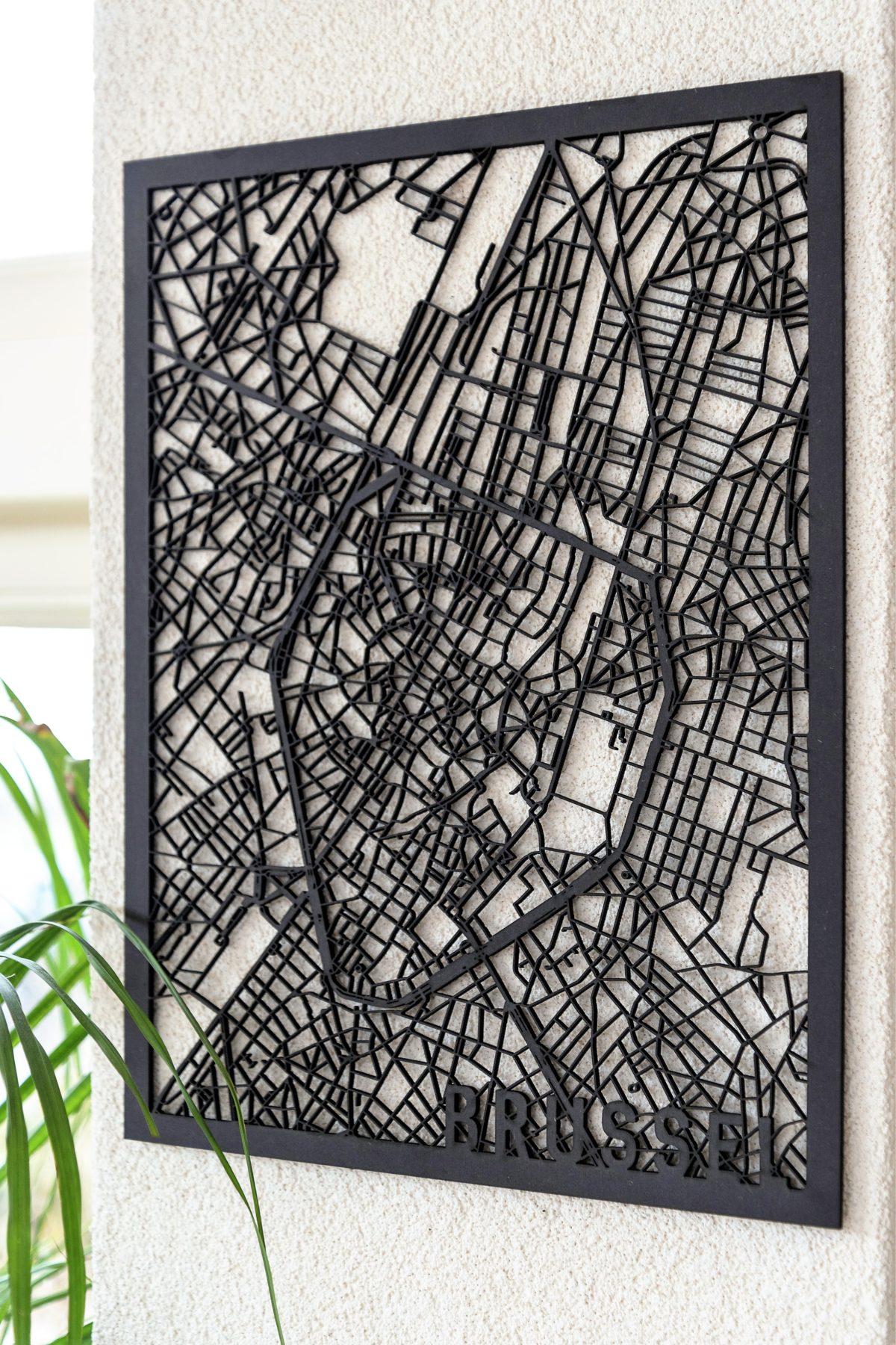 Stadskaart Brussel zwart hout