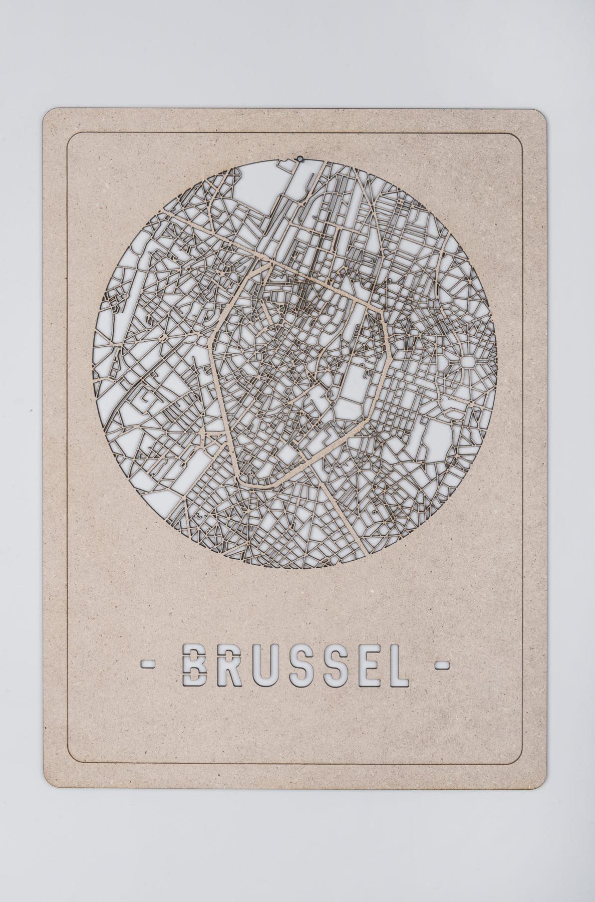 Brussel Stadskaart hout