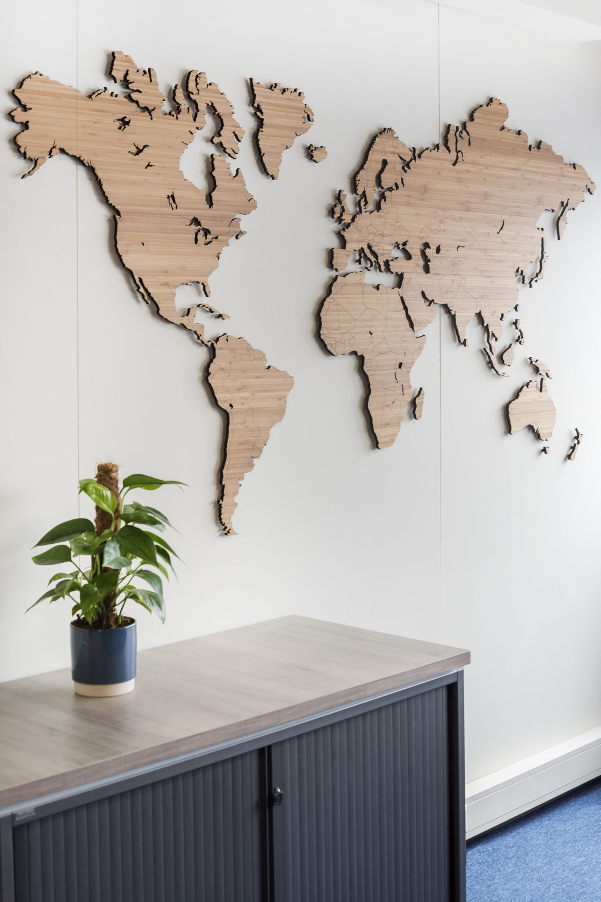wereldkaart bamboehout