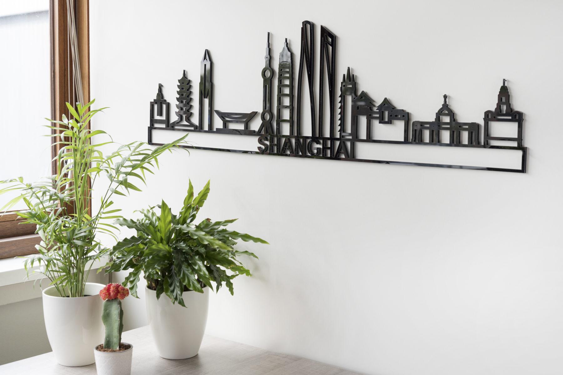 Skyline Shanghai zwart kunststof