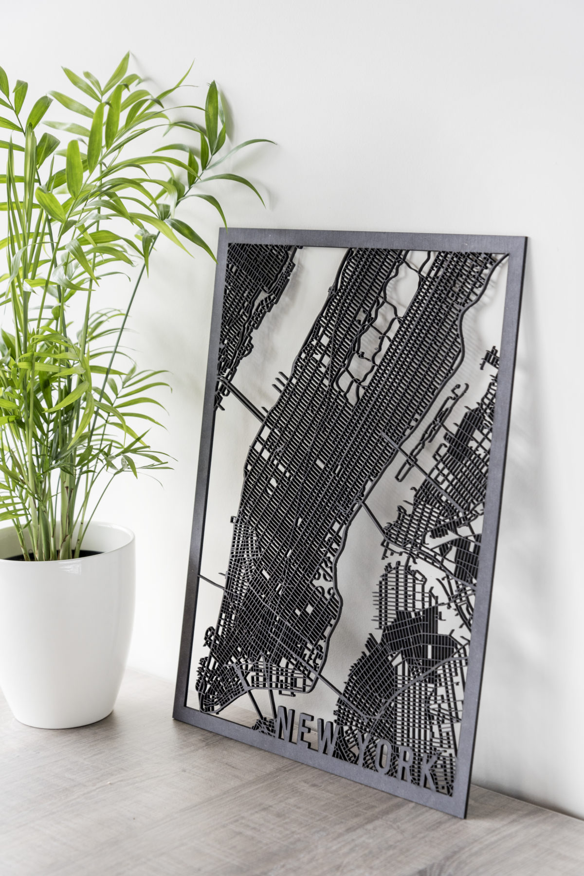 Stadskaart New York zwart hout