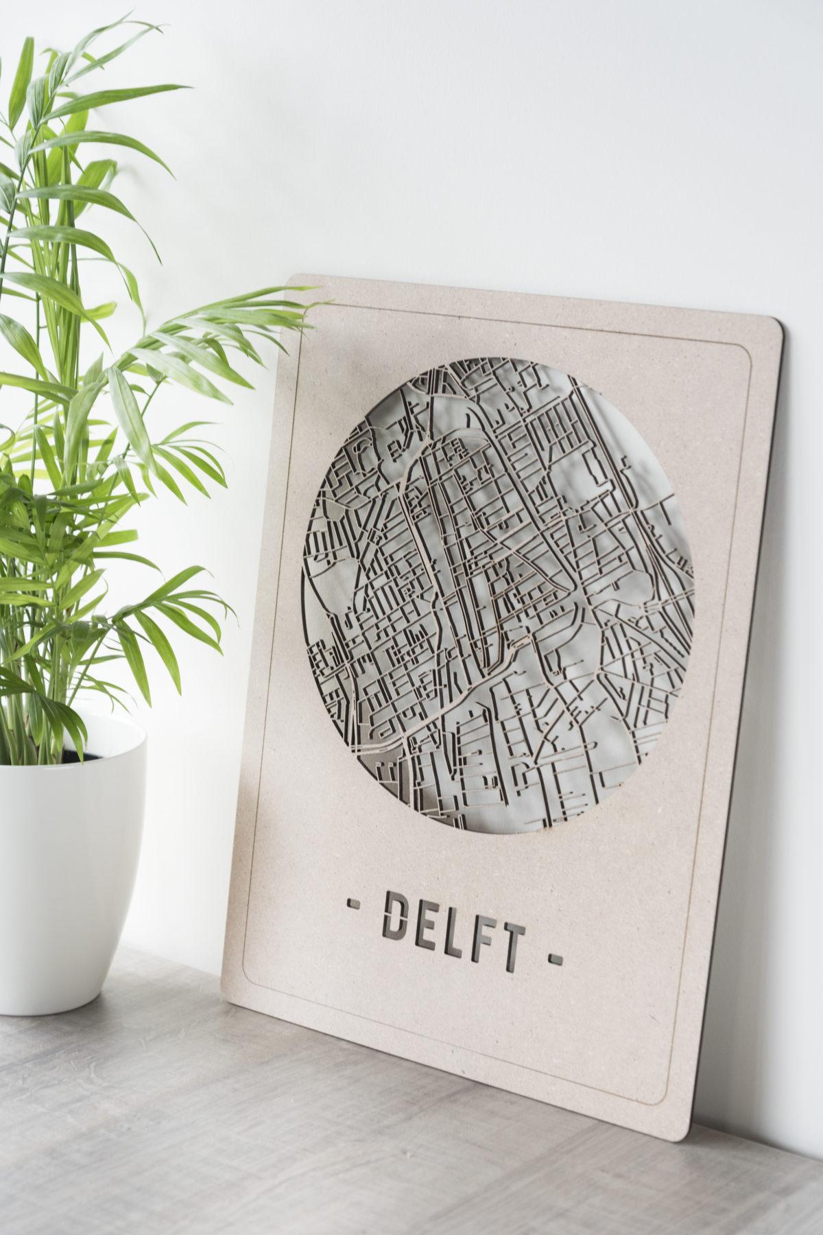 Stadskaart Delft hout