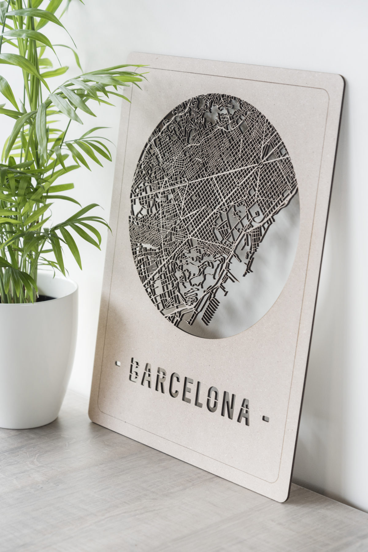 Houten stadskaart Barcelona