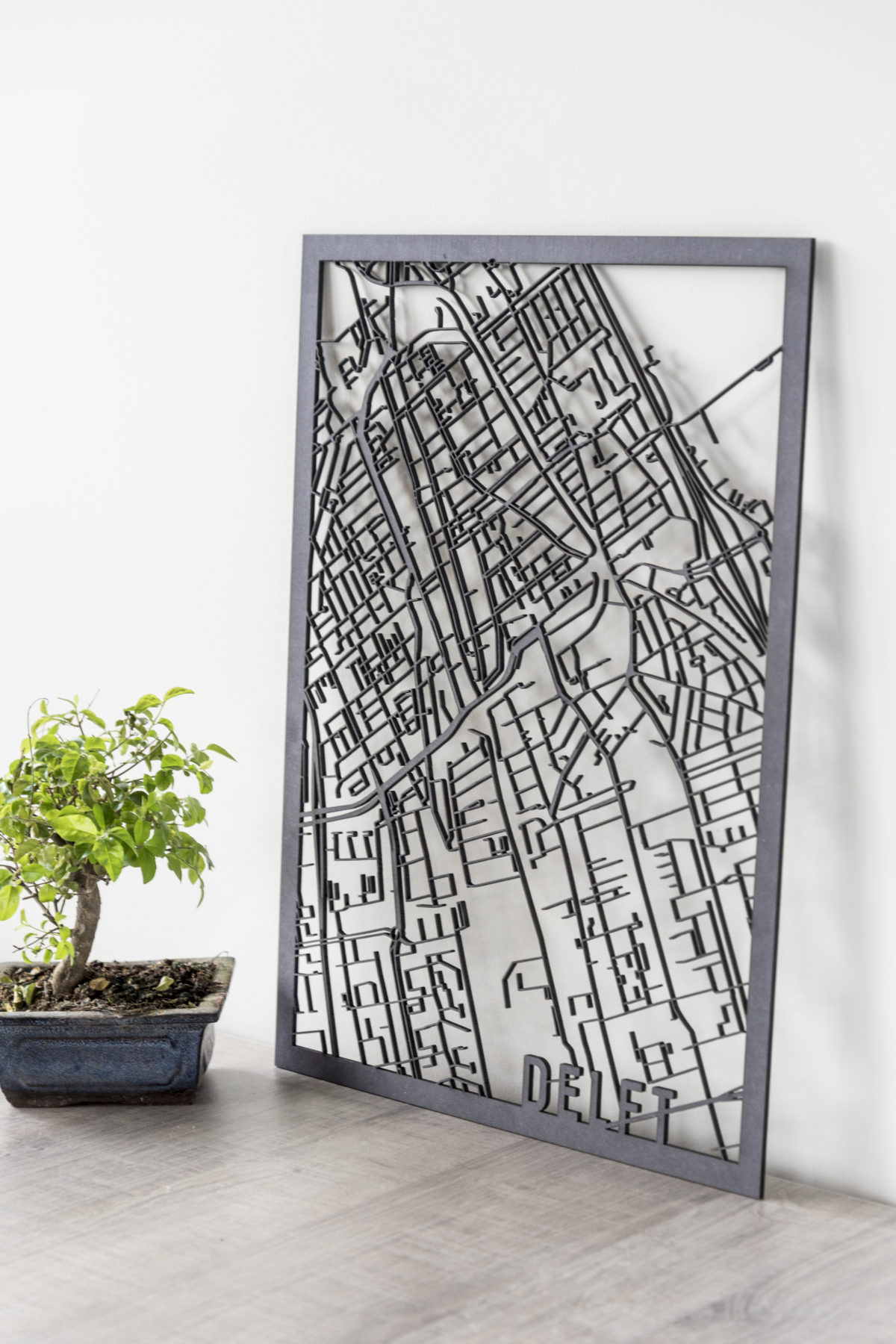 Stadskaart Delft zwart hout