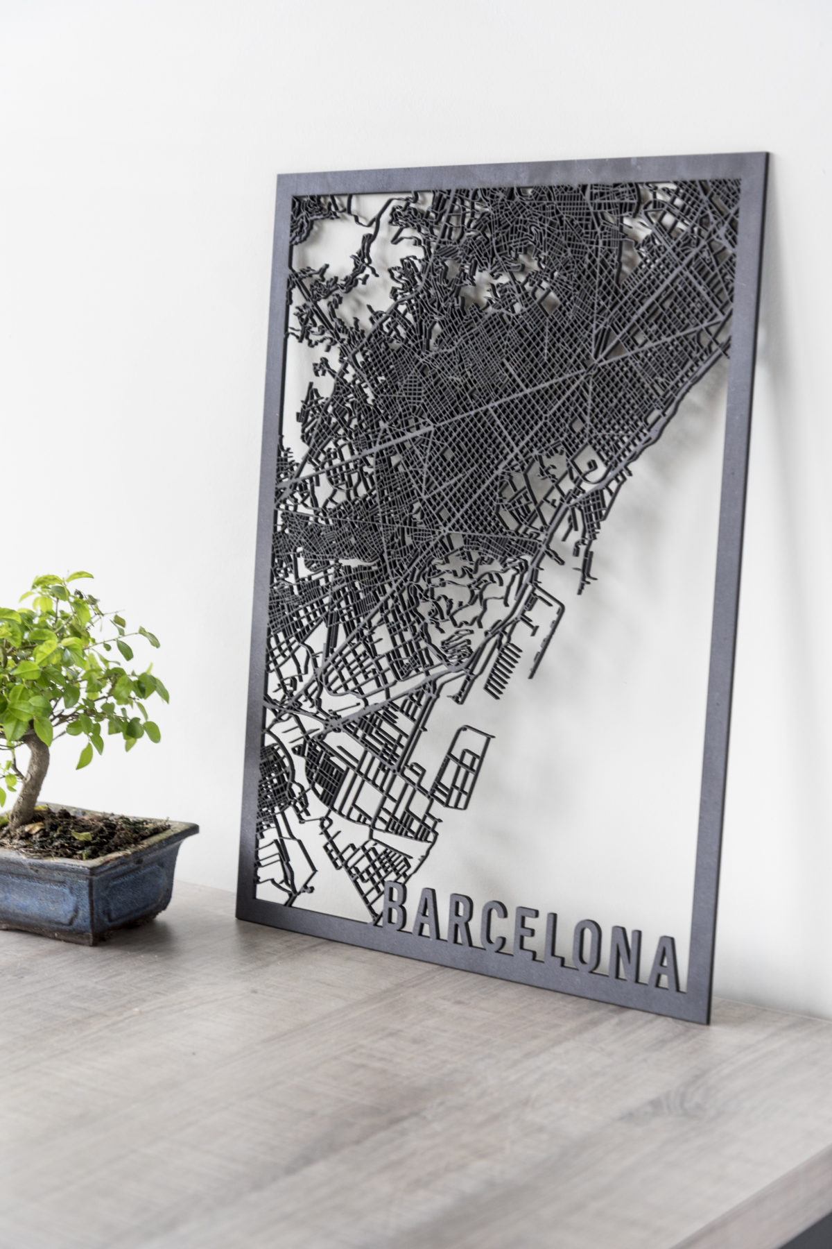 Stadskaart Barcelona zwart hout