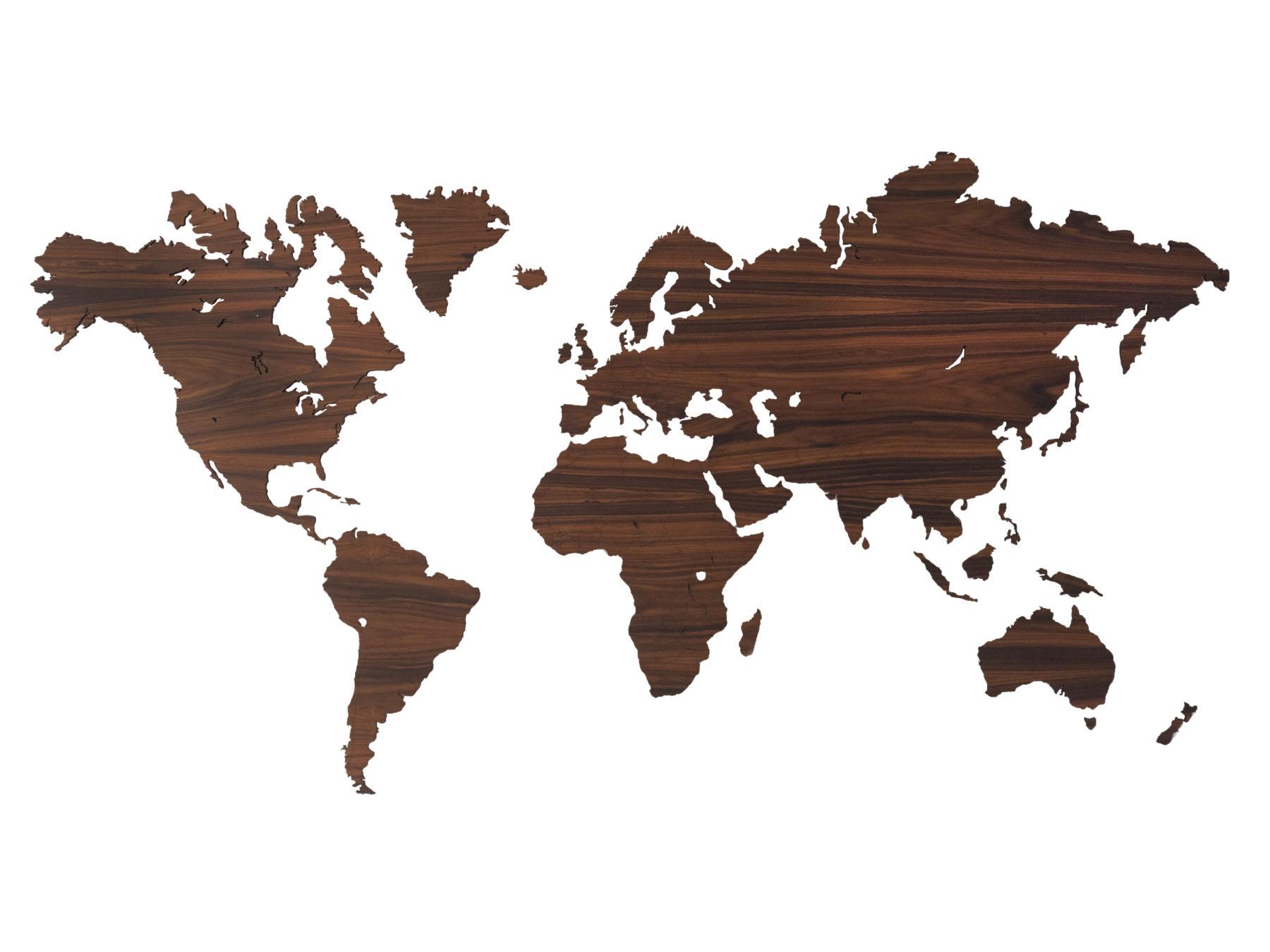 Palissander houten wereldkaart