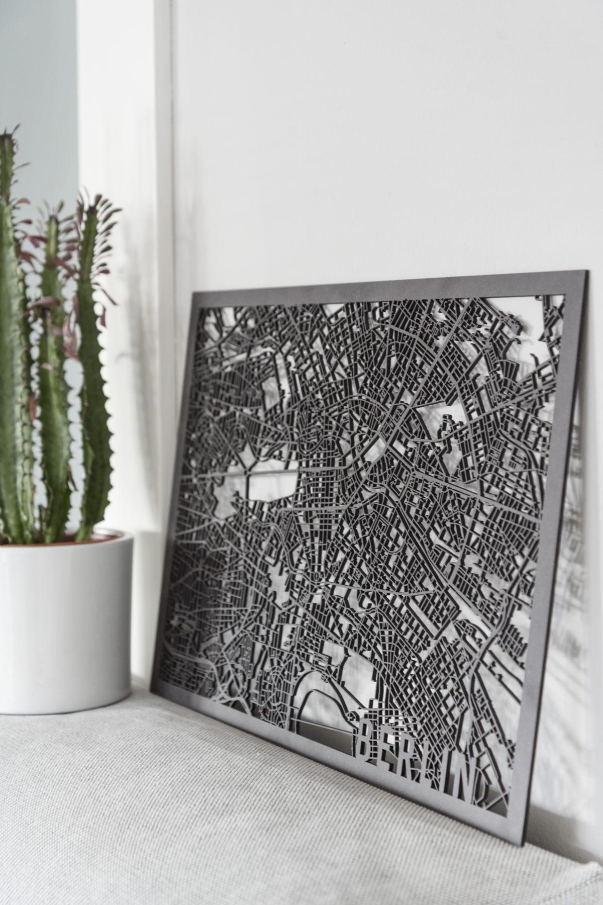 Stadskaart Berlin zwart hout
