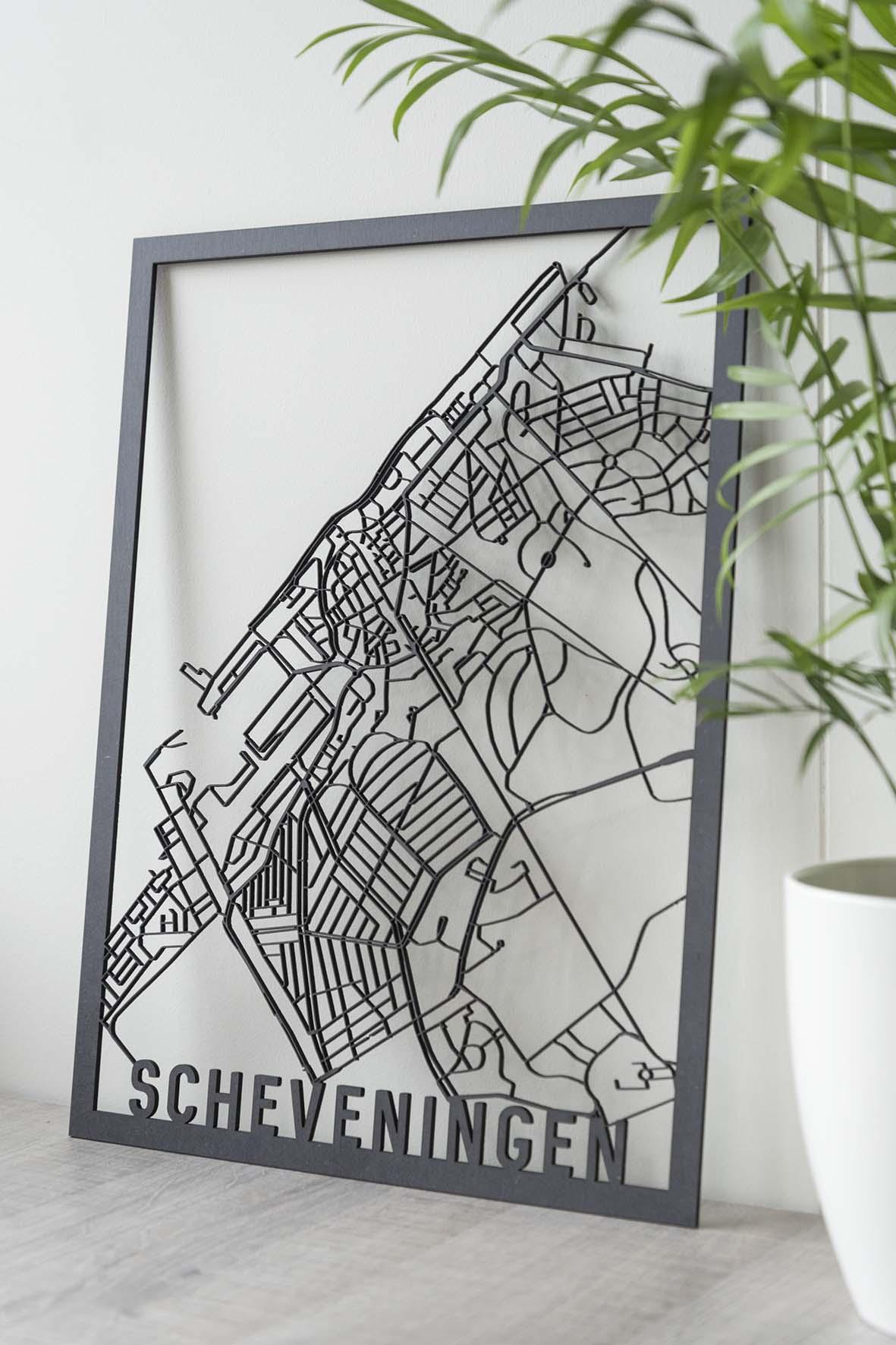 Stadskaart Scheveningen zwart hout