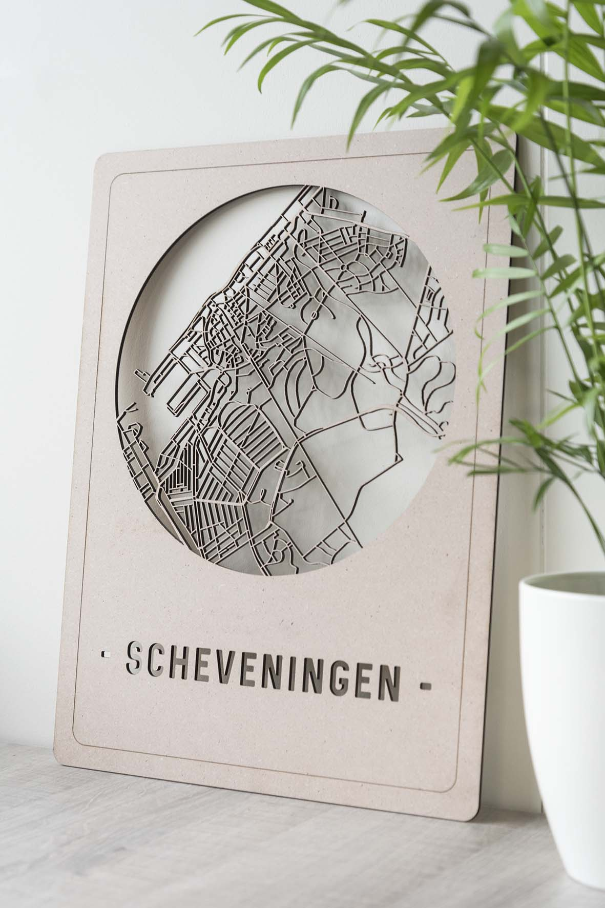 Houten stadskaart Scheveningen