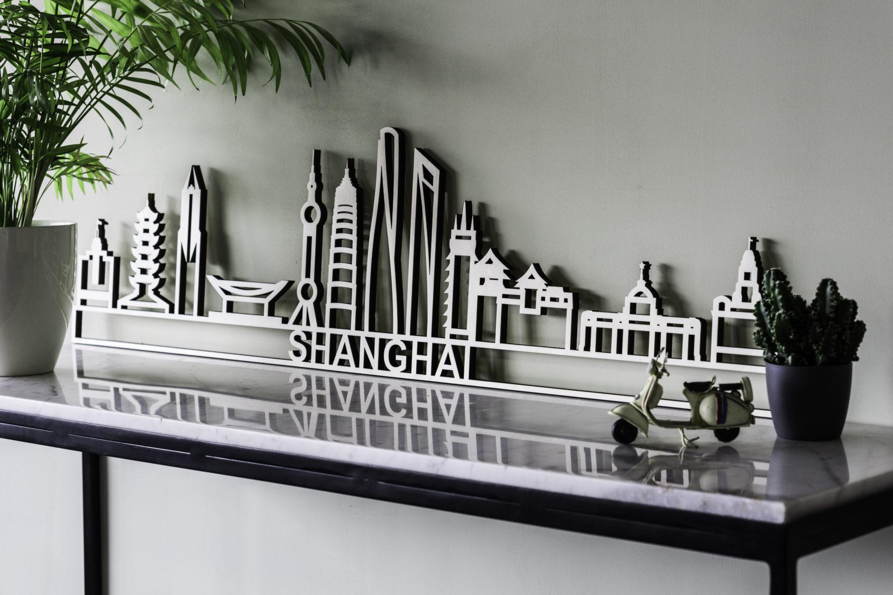 Skyline Shanghai hout