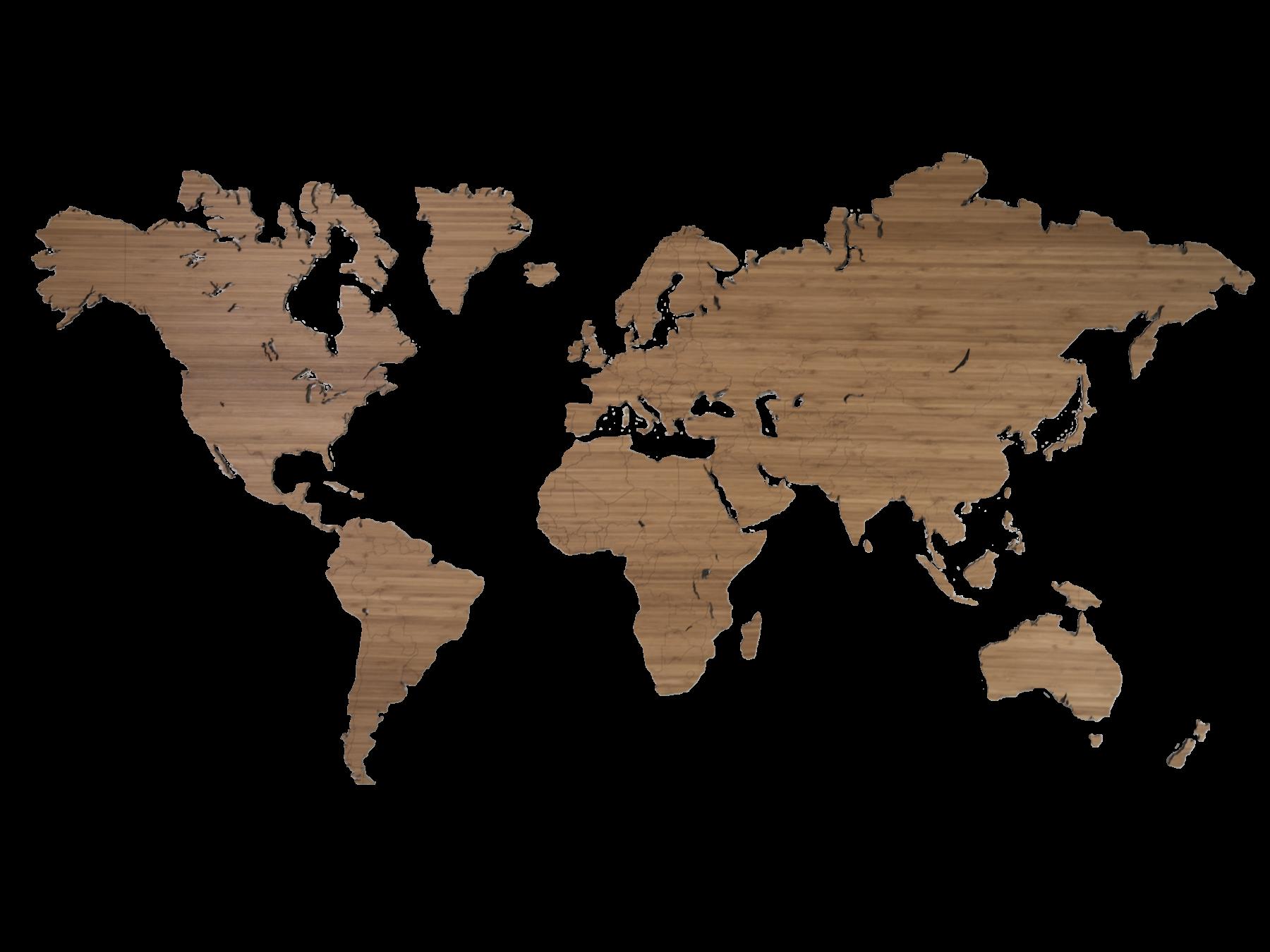Wereldkaart hout bamboe