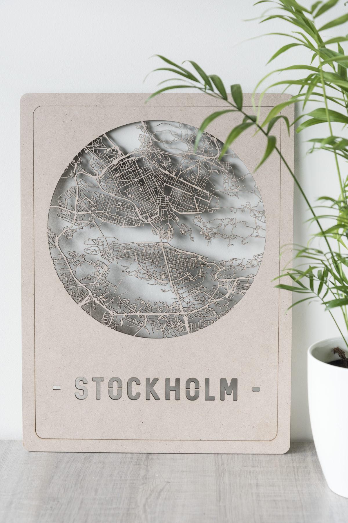 Houten stadskaart Stockholm