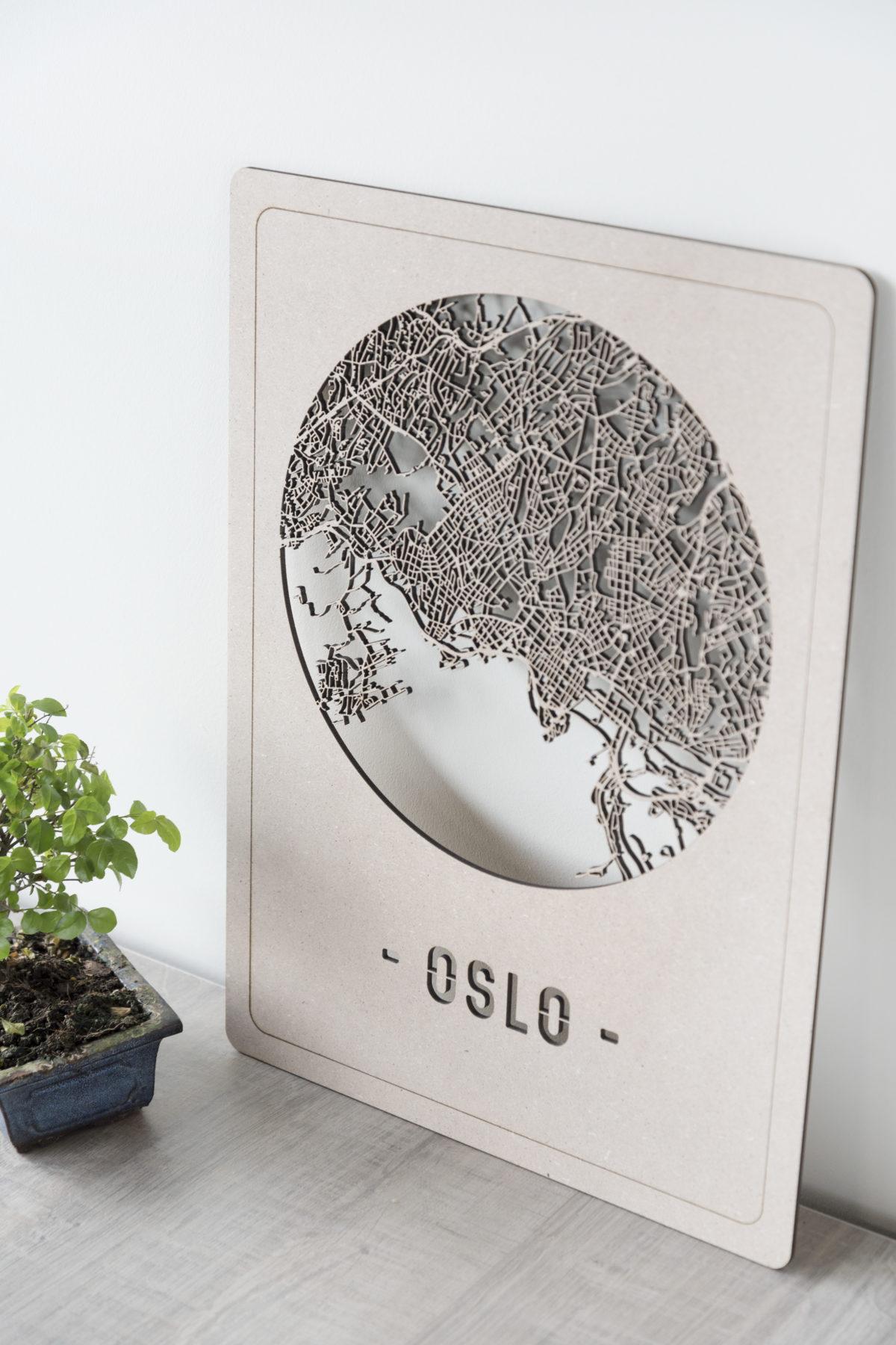Houten stadskaart Oslo