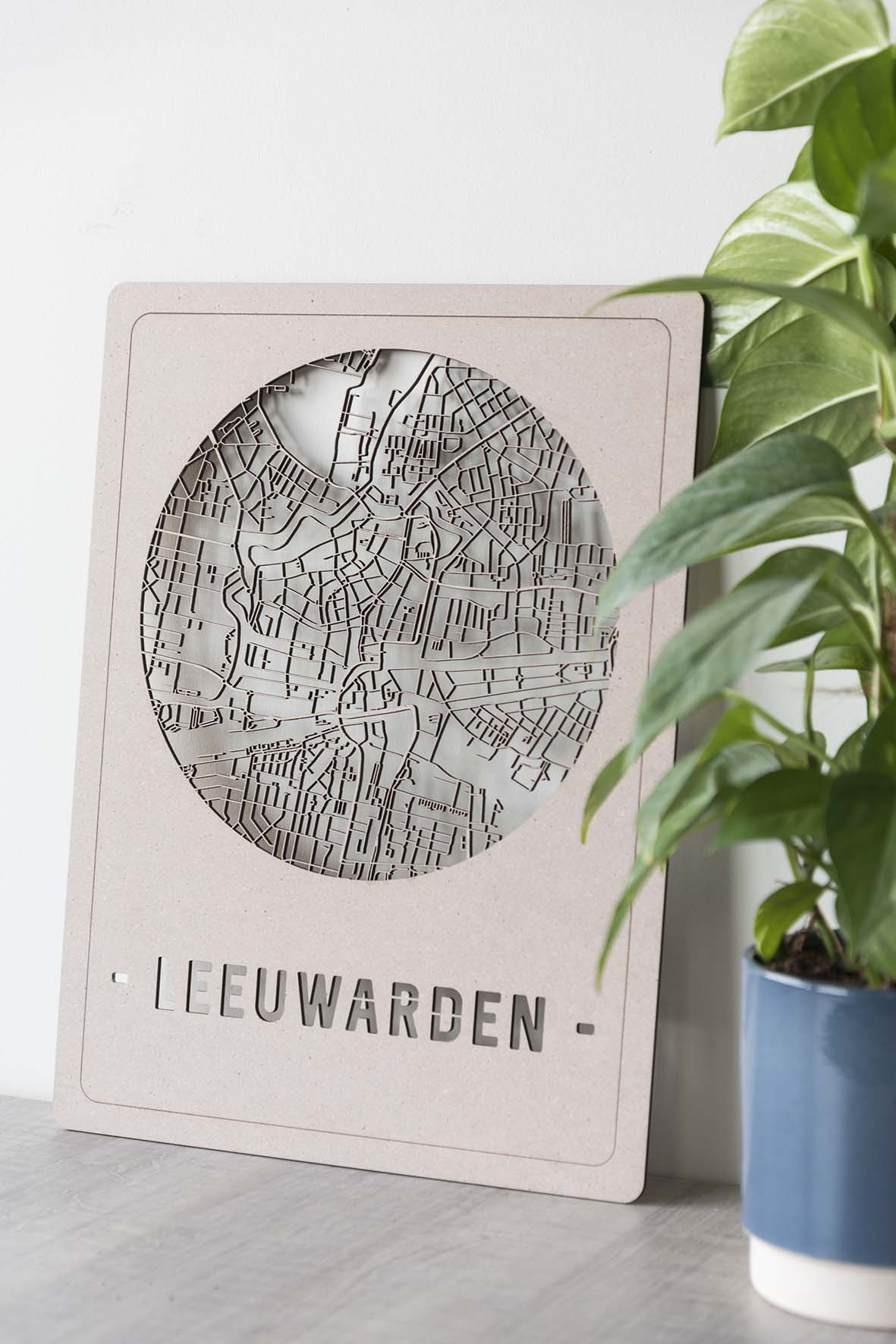 Houten stadskaart Leeuwarden