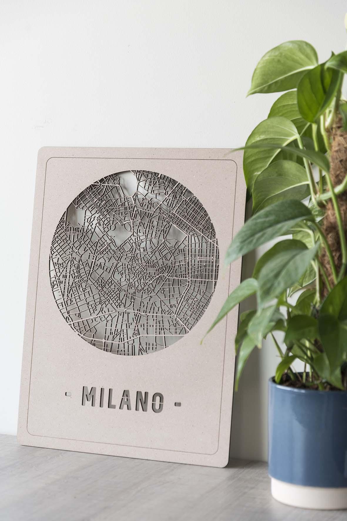 Stadskaart Milan hout