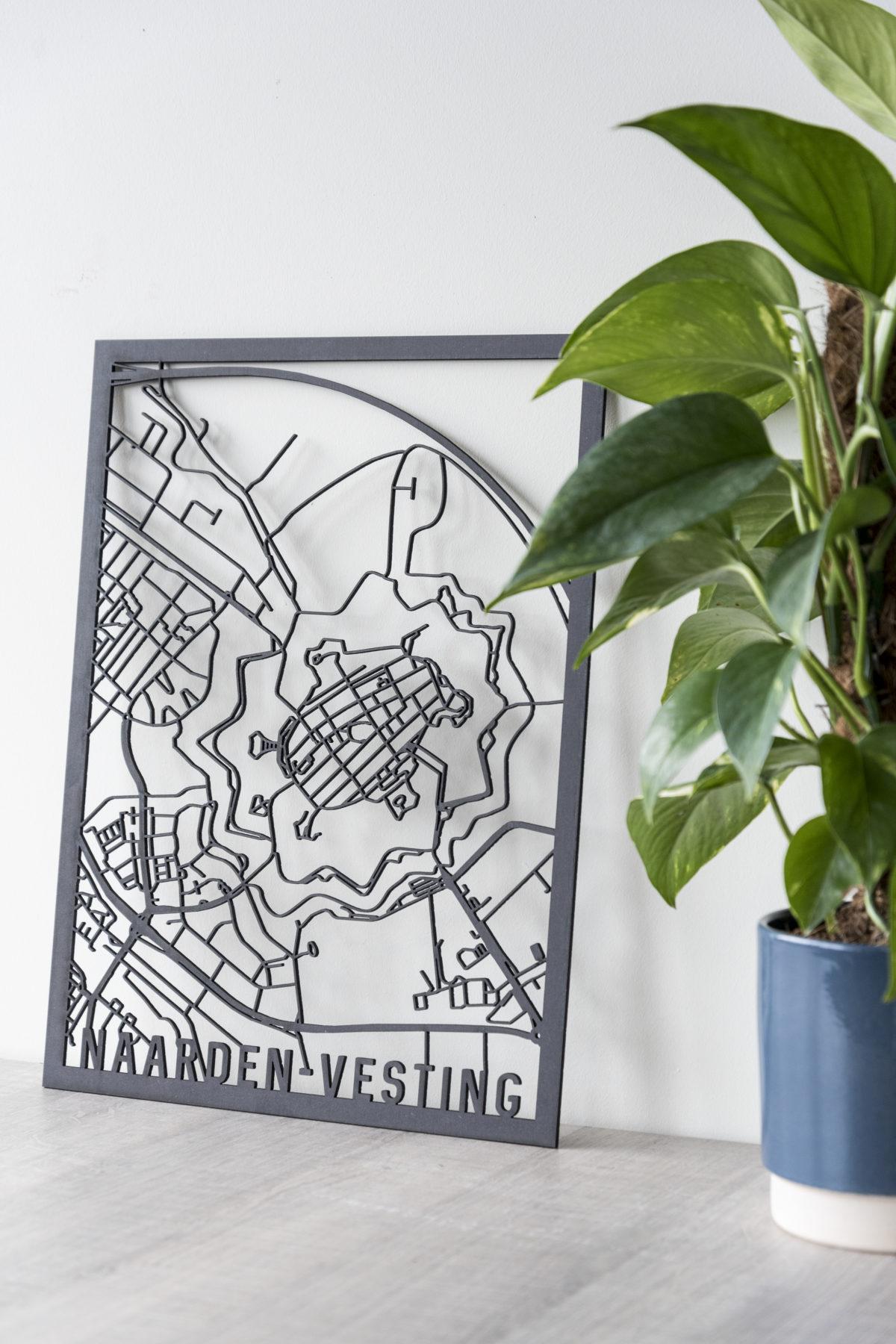 Stadskaart Naarden-Vesting zwart