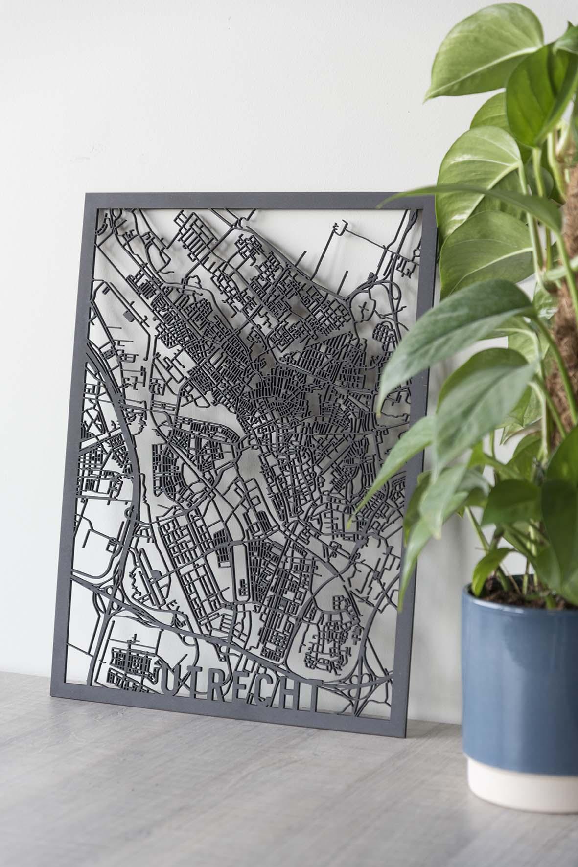Stadskaart Utrecht zwart hout
