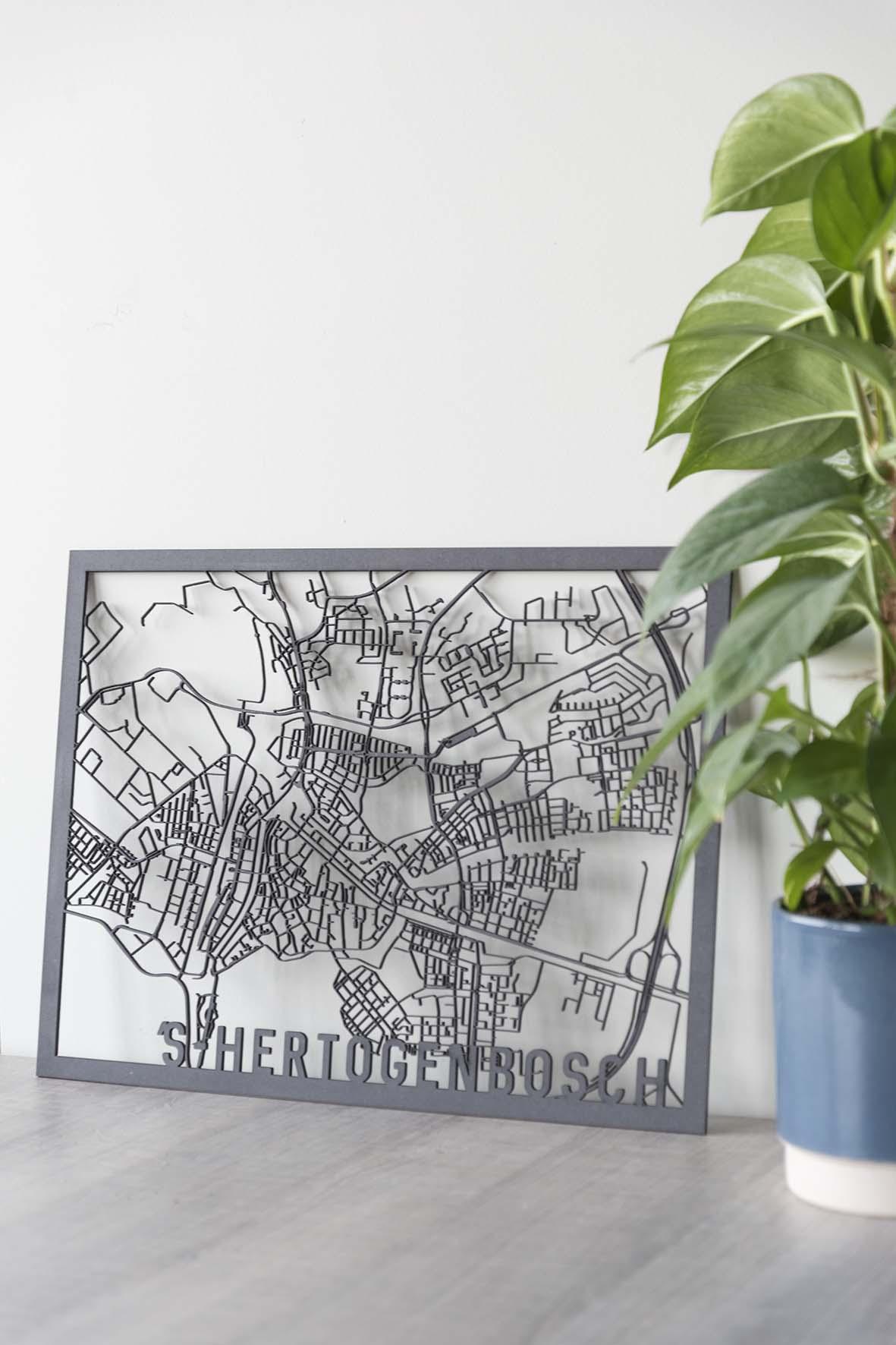 Stadskaart 's-Hertogenbosch zwart hout