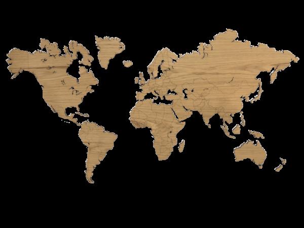 Eiken houten wereldkaart