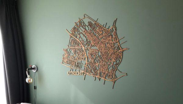 Utrecht stadskaart hout