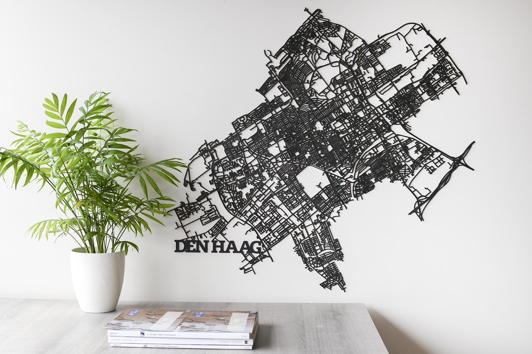 Den Haag stadskaart zwart