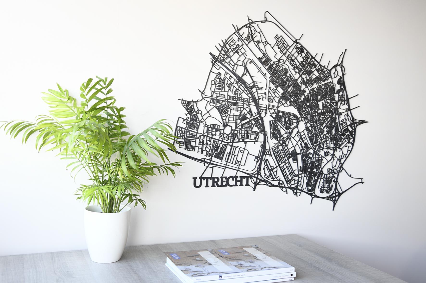 zwart houten stadskaart Utrecht