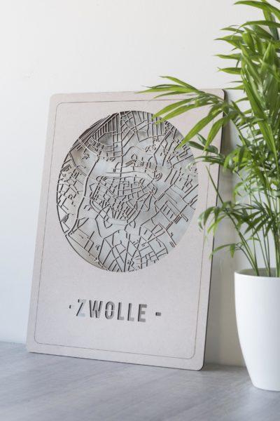 Stadskaart Zwolle hout