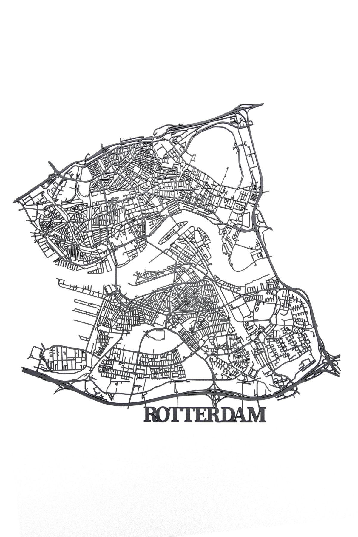 zwart houten stadskaart Rotterdam