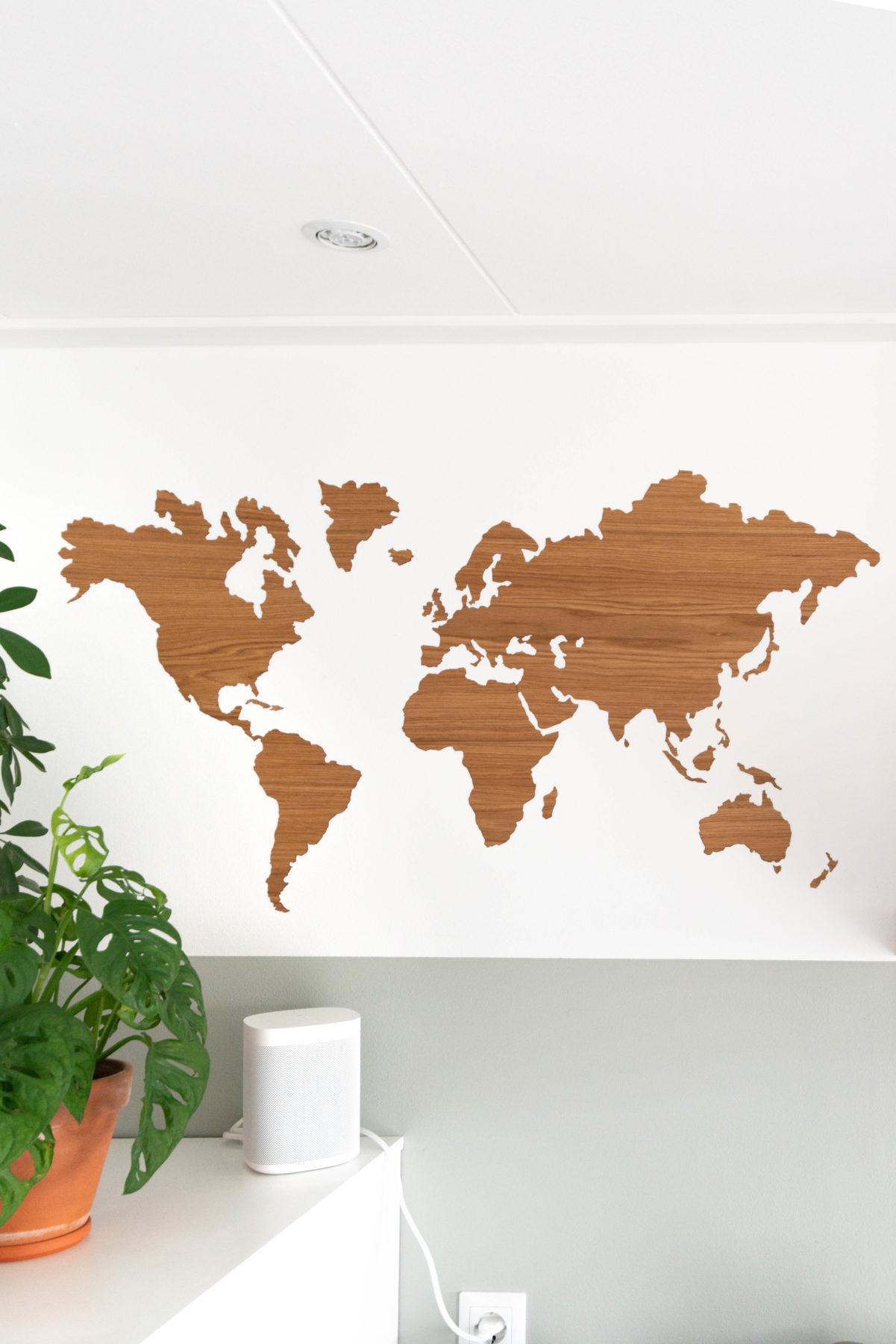 eiken wereldkaart zelfklevend