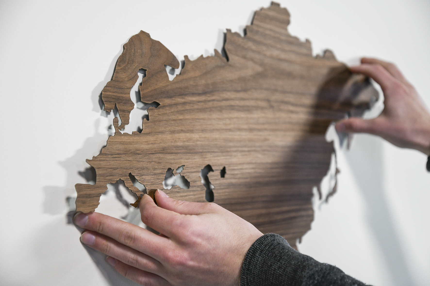 Sticker wereldkaart noten