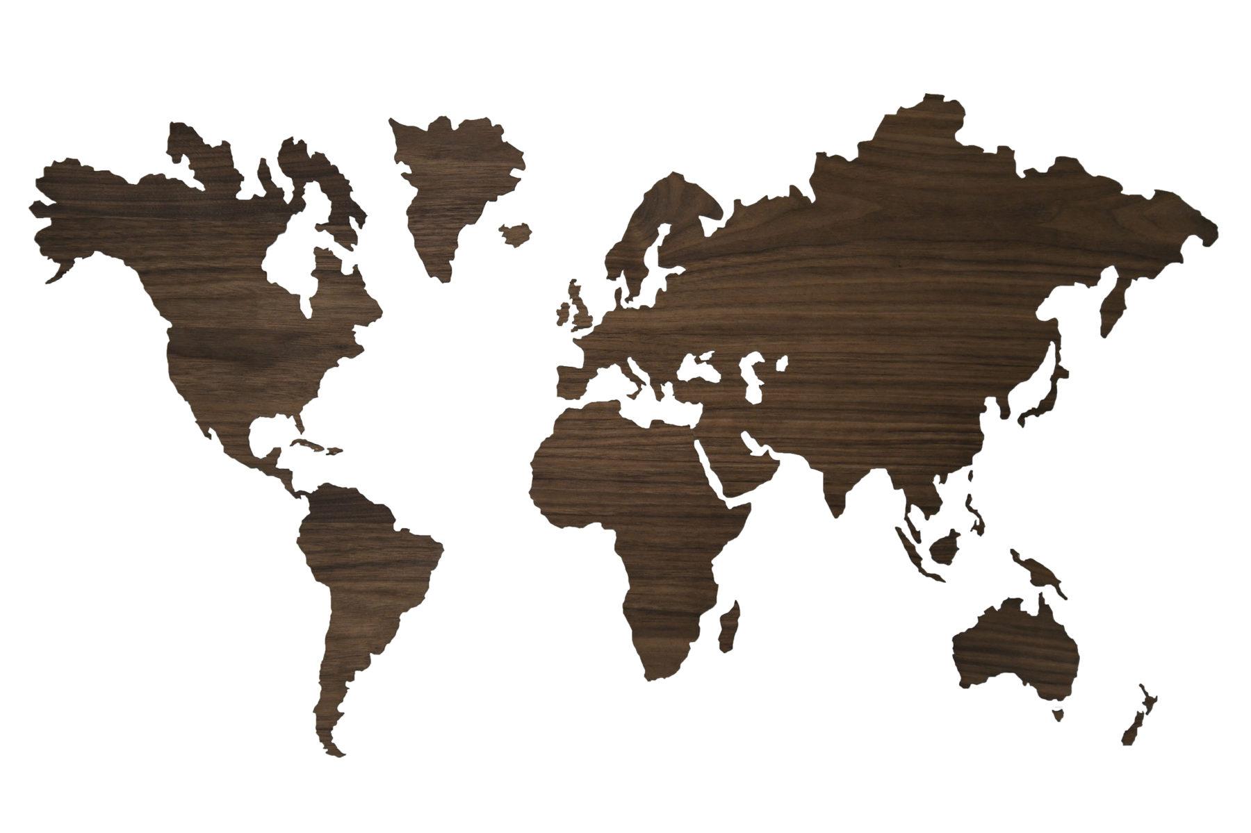 Noten houten sticker wereldkaart