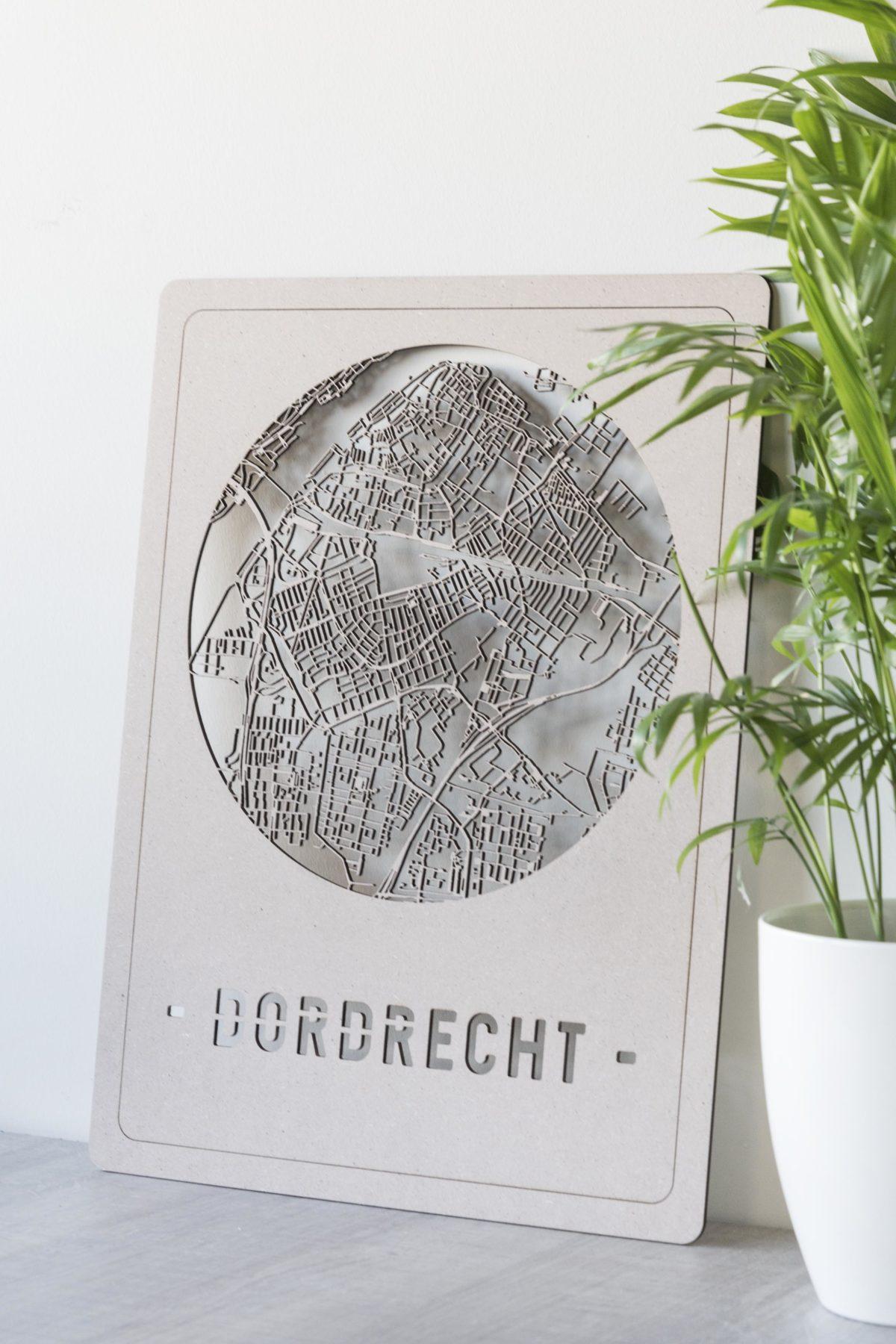 Houten stadskaart Dordrecht